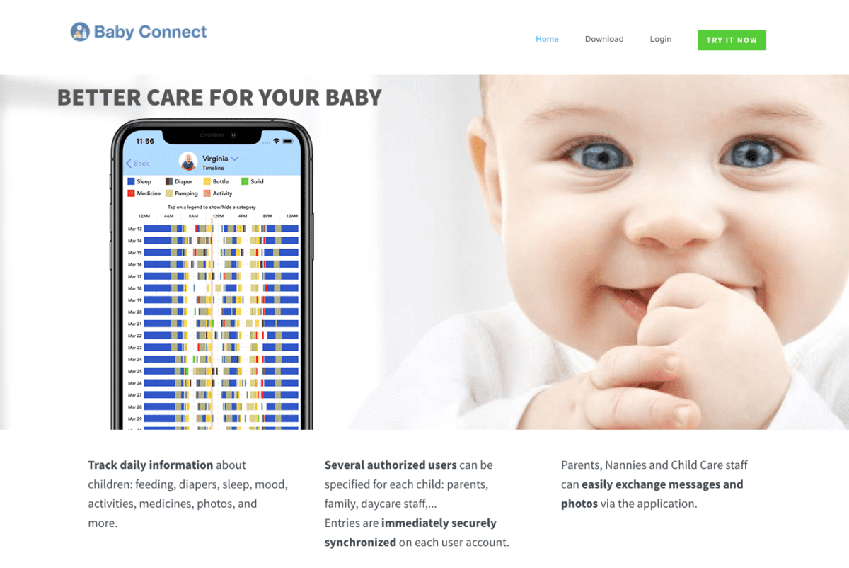 Baby Connect website screenshot